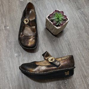 Alegria Paloma Mary Jane Nursing Shoes Sz 38 Black & Gold